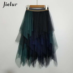 Jielur Tulle Skirt Spell Color Elastic High Waist Skirts Womens Dance Tutu Skirts Irregular Skirt Lolita Petticoat Midi Rokken CX200604