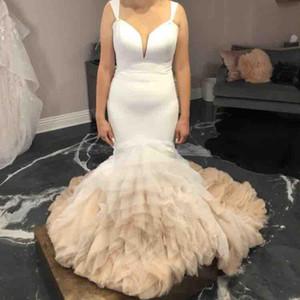 2020 erstaunliche Tiered Mermaid Brautkleider Tauchen Ansatz plus Größe Brautkleider Tüll Ombre Sweep Zug Roben de mariéered