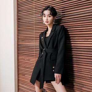 NIJIUDING Negro traje chaqueta femenina otoño 2020 Moda Francesa Diseño Sentido Era Delgada una hebilla temperamento pequeñas chaquetas de traje