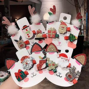 INS 5pcs / set Noel kızlar saç klipleri Karikatür çocuklar tokalarım sevimli yay bebek BB klipler kızlar saç aksesuarları bebek aksesuarları A9393