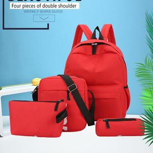 All'ingrosso nuova lettera di marca di quattro pezzi di sport zaino casual traspirante borsa di tela madre e figlio zaino esterno zaino da viaggio