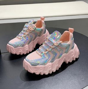 Ladies Shoes Chunky Casual Shoes Colorful Breathable Women Flats Shoe Thick Bottom Shiny Shoe Zapatos De Mujer