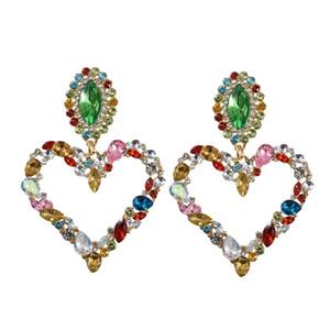 Dominato esagerato moda con pieno di cristallo a forma di cuore ciondola gli orecchini Contratto Joker Donne Lunghe Orecchini di Goccia Dei Monili