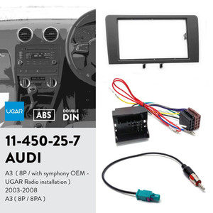 UGAR 11-450 Fascia Kit / Fascia Frame + ISO Harness + Antenna Adapter for Audi A3 (8P / with Symphony OEM-UGAR Radio) 2003-2008؛ A3