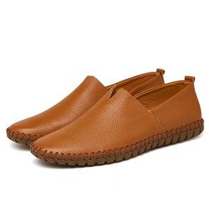 Sapatos de condução dos homens 2019 homens preguiçosos couro genuíno sapatos da moda Handmade macio respirável Mocassins Flats Slipe sobre sapatas