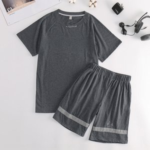 cRtfd Pajamas men's summer short-sleeved two-piece suit Men's summer cotton short sleeve two piece set casual outdoor thin cotton home cloth