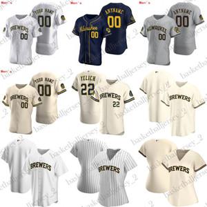 Jeunesse Custom Hommes Femmes Milwaukee Christian Yelich Maillots Baseball Yasmani Grandal Thames Yount Ryan Braun Hiura Arcia 2020 Jersey