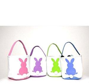 Easter Basket coniglio stampato Easter Bunny regalo Borse Bunny Tail Borse Totalizzatore tela di lino Baskets bucket di archiviazione del fumetto GGA3192-1