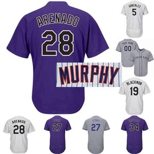 Colorado Jersey 3 Daniel Murphy 71 Wade Davis 19 Charlie Blackmon 27 Trevor Geschichte 28 Nolan Arenado der Frauen Männer Jugend-Baseball-Shirts
