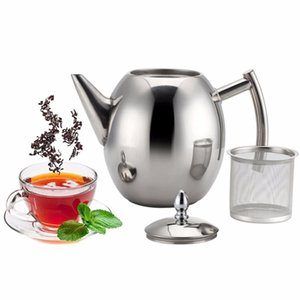 1L / 1.5L Edelstahl Teekanne mit Sieb große Kapazitäts-Kaffee Kettle Hitzebeständige Kaffeekanne Infuser Büro Teaware Sets Heim-Tee-Topf