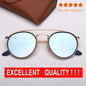 Круглые очки Brille Модные солнцезащитные очки женщин людей ВС очки Eyeware двойной мост Круглый металла Des Lunettes De Soleil с Case