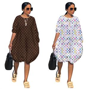 Lujo de la marca de las mujeres de vestir de manga larga del O-cuello de los vestidos de una pieza Midi-Partido impresa letra de la falda del vestido del club de playa vestidos de traje ropa 2XL