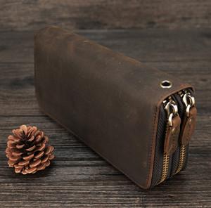 Los titulares carteras Carteras MAHEU doble mujeres de la cremallera larga de los hombres billetera de cuero de la vendimia masculina de la moneda del monedero del embrague del hombre tarjeta de teléfono 100% auténtico