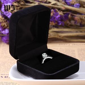 Venta al por mayor de compromiso caja de anillo de terciopelo negro exhibición de la joyería de almacenamiento plegable caso para el anillo de bodas organizador del regalo del día de San Valentín C19021601