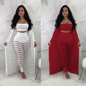 Sexy Hollow Out 3 Pieces Set Womens Strapless Crop Top Sheer Stripe Mesh Pants Long Cardigan Set Plus Size Party Club Outfits