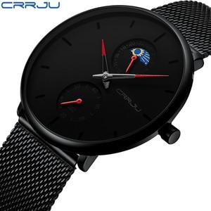 erkek kol saati CRRJU Moda Uomo Business Casual Orologi 24 ore Design unico orologio al quarzo Mesh impermeabile Sport dell'orologio