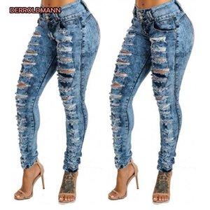 Jeans Women Torn pantaloni a vita alta rotti denim strappati Slim pantaloni della matita scava fuori jeans con cerniera pulsante Donna Denim