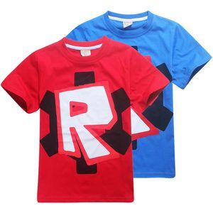 Roblox 키즈 티 셔츠 2 색 4-12t 키즈 보이즈 소녀 만화 프린트 코튼 T 셔츠 티셔츠 아이 디자이너 옷 SS250