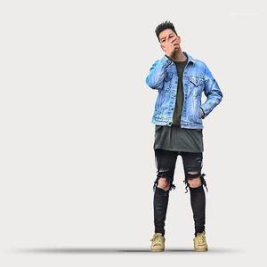 Bleu clair Noir Skinny poches Designer Jean Zipper Crayon Pantalons Jeans Hommes Designer Trou High Street