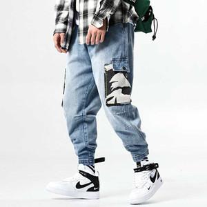 Fashions Mens Jeans Brand Camouflage Pocket Cargo Pants Hip Hop Harem Trousers Baggy Cotton Denim Joggers Jeans Male Clothes