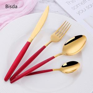 Western Gold de vajilla 24PCS 18/0 blancos del acero inoxidable del vajilla Oro Negro superior de calidad y oro cubiertos conjunto cuchillo Cena T191014