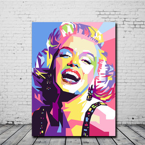 Colorido Marilyn Monroe pared del arte Cuadros para las pinturas de aceite de impresión Sala de estar pintado a mano de la decoración del hogar en la lona HD 200117