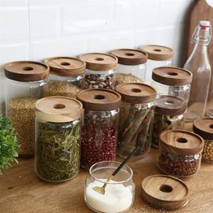 350/500/750/1000 / 1700ml legno Coperchio bagagli Jar alta borosilicato trasparente di vetro serbatoio cereale Cucina Container