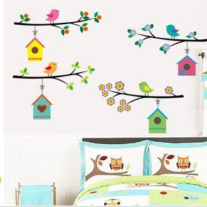 Combinaison Cartoon Salon Wall Sticker Oiseau Creative Wall Sticker mur