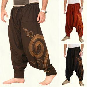 Vintage Men Harem Baggy Pants Elastic Drawstring Casual Male Pants Hip hop Men Gypsy Cotton Linen Wide-legged Loose Pants