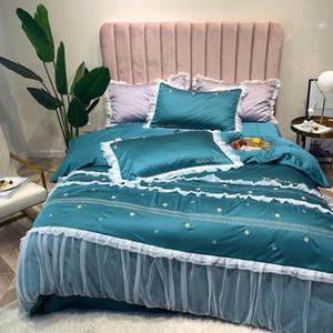 Juego de cama de encaje bordado Juego de cama de algodón egipcio Funda de edredón Lotus Edge Sábana Funda de almohada Queen King size