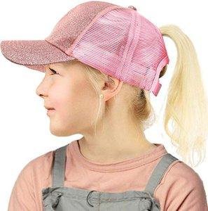 Enfants Glitter Ponytail Chapeau de boule de paillette de baseball Chapeau ordinaire Visor Caps fille Messy Bun été Chapeaux réglable Hip Hop Snapback GGA3536