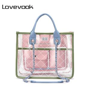 LOVEVOOK kadınlar çanta omuz crossbody çanta kadın messenger çanta bayanlar şeffaf çanta temizle çantalar ve çanta tote 2019