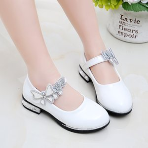 2020 new arrival shoes girls cute running shoes black pink white fashion pu shoes size