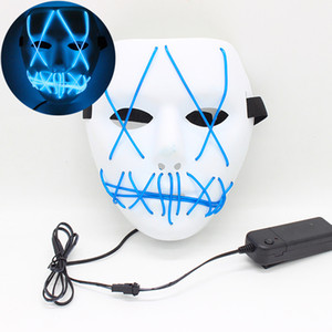 New Luminous mask Halloween Mask Led colors Mask Party Masque Neon Light Glow In The Horror Glowing Masker Purge