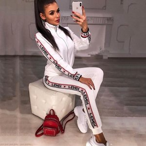 Women Designer Fashion Tracksuits 2019 Brand Letter Printing Suits Two Piece Pants Womens Luxury Slim Tracksuits