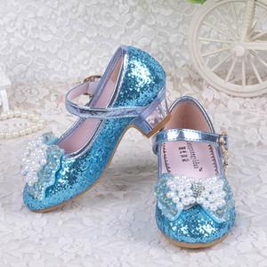 Zapatos de las muchachas de baile del brillo Perlas Shinning de la correa de la mariposa del Bowknot Metallica hebilla Snow Queen PU Suela intermedia de la bailarina boda Sho