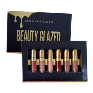 Belleza vidriada Mate Liquid Lipstick Lip Gloss Set Paquete 6pcs = 1 paquete impermeable maquillaje duradero Lipgloss Conjunto