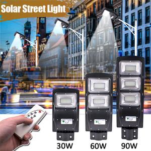 원격 LED 태양 거리 빛 30W 60W 90W 태양 조명 방수 PIR 모션 센서 태양 LED 야외 조명 플라자 정원 마당