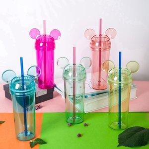 Vasos de oreja de conejo colorido transparente oreja del ratón botella de agua con paja y tapa de la taza de café Taza Milke regalo de las muchachas HHA-1372