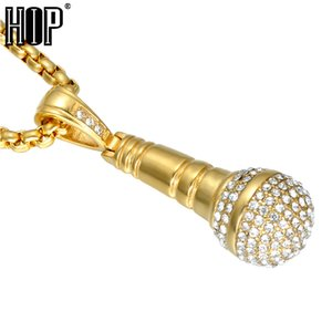 HIP Hop Color Oro Titanio Acero Inoxidable Ice Out Bling Música Micrófono Estereoscópico Colgante Collar para Los Hombres Joyería