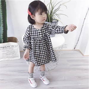 New Spring Baby Girls Casual Dress Kids Long Sleeve Vintage Plaid Dress Children Princess Dresses 14527