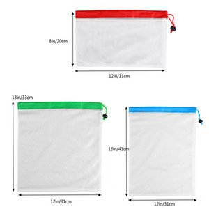 Reusable Mesh Produce Bag Washable Eco-Friendly Bags for Grocery Shopping Fruit Vegetable Organizer Pouch 3 Sizes Storage Bag