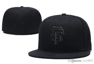 Полный черный Braves Red Sox Phillies Cubs Rockies Padres Angels Giants Легкая атлетика бейсболки мужчины Casquette Fitted шляпы