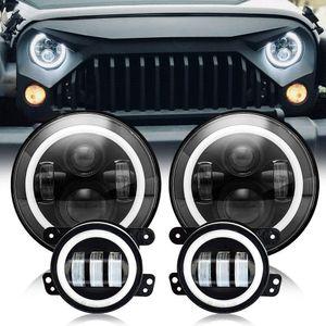 2pcs 7 inch Round Led Headlight High Low Beam Light Halo Angle Eyes + 2pcs 4 inch fog light For Jeep Wrangler Off-Road 4x4