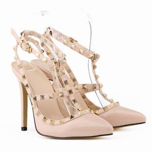 Novas mulheres saltos altos partido moda rebites apontou sapatos Sapatos de dança Dupla correias sandálias sapatos de casamento