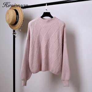 Hirsionsan Pull Femme 2019 Winter Autumn Oversized Knitted Cashmere Sweater Women Lantern Sleeve Diamond Basic Thicken Pullovers V191130