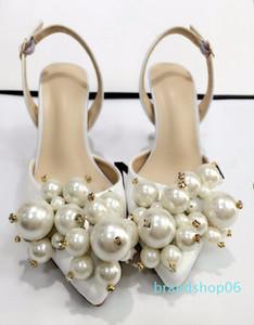 Hot Sale-LTTL Exquisite Perle Hochzeit Schuhe White Satin-Absatz-Pumpen Allgleiches Frauen Bankett-Partei-Kleid-Absatz-Schuhe Socialite
