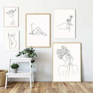 Sexy Girl nue ligne Dessin mur d'art de toile Poster Art abstrait ligne de peinture Yoga Poster Fleur Imprimer mur Photos Home Decor