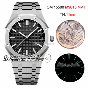 OMF V2 41mm 15500 Miyota 9015 Automatic Mens Watch Black Textured Dial Stick Markers Stainless Steel Bracelet Best Edition New Puretime OM01