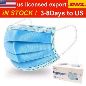 Énorme stock! Gratuit DHL / UPS 3-8 jours aux USA / UK / EU 50 Pcs Masques visage épais à usage unique Masques 3 couches avec earloops pour Salon, Accueil Utilisation confortable